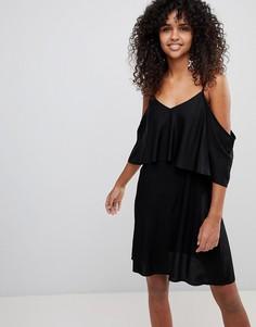 Платье на бретельках с открытыми плечами Monki - Черный