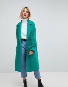 Пальто с отделкой на рукавах Vero Moda - Зеленый