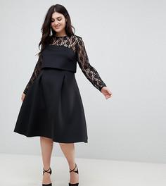Платье для выпускного с укороченным лифом и длинными кружевными рукавами ASOS CURVE - Черный