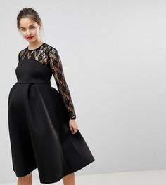 Платье с кружевным топом ASOS MATERNITY - Черный