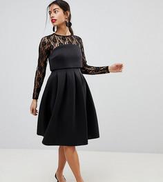 Платье для выпускного с кружевным топом ASOS PETITE - Черный