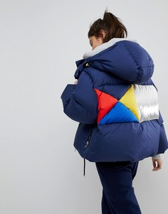 Дутая куртка с отделкой колор блок на спине Tommy Hilfiger - Темно-синий