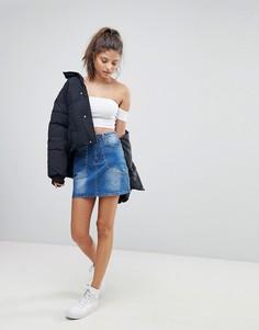 Джинсовая юбка с заклепками Missguided - Синий