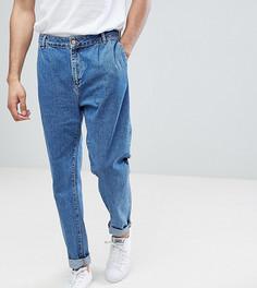 Голубые прямые джинсы со складками ASOS TALL - Синий