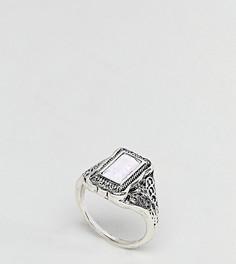 Кольцо с прямоугольным камнем и гравировкой ASOS CURVE - Серебряный