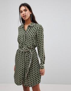 Платье-рубашка с мозаичным принтом Y.A.S Pisa - Зеленый