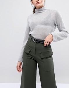 Кожаный ремень для джинсов с заклепками Pieces - Черный