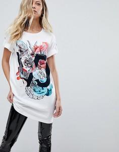 Длинная футболка с логотипом в виде тигра Versace Jeans - Белый