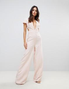 Комбинезон с глубоким вырезом, широкими штанинами и открытой спиной ASOS - Розовый