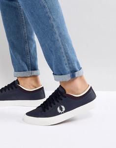 Темно-синие кожаные кроссовки с контрастной отделкой Fred Perry Kendrick - Темно-синий