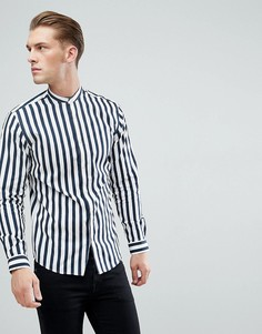 Зауженная рубашка в полоску с воротом на пуговице Jack & Jones Premium - Темно-синий
