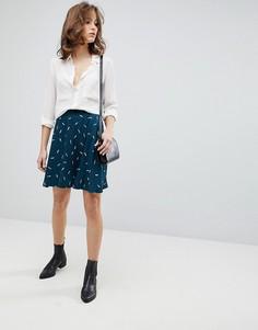 Короткая расклешенная юбка с принтом Selected - Мульти