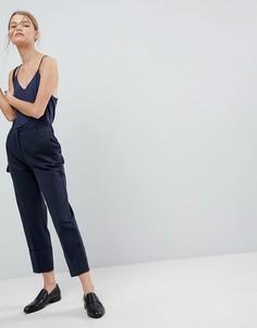 Оверсайз-брюки с отворотами на манжетах Selected - Темно-синий