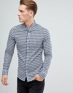 Рубашка узкого кроя в клеточку Only & Sons - Темно-синий