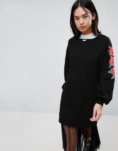 Трикотажное платье с принтом на рукавах Noisy May - Черный