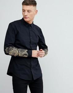 Черная узкая рубашка с вышивкой в виде змей River Island - Черный