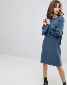 Трикотажное платье с завязками на рукавах Selected Femme - Синий