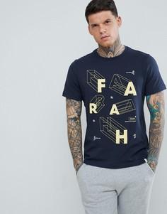 Темно-синяя футболка узкого кроя с логотипом Farah Bart - Темно-синий