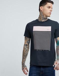 Черная узкая футболка с принтом Farah - Черный