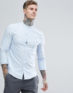 Синяя приталенная оксфордская рубашка с воротником на пуговицах Farah Brewer - Синий