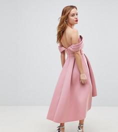 Асимметричное платье миди для выпускного с открытыми плечами ASOS PETITE - Розовый