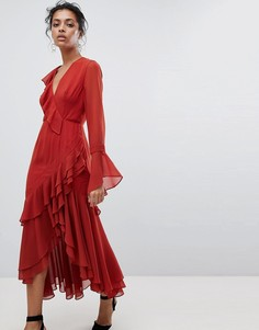 Платье с запахом и оборками C/Meo Collective - Красный