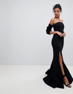 Платье с открытыми плечами и разрезом C/Meo Collective - Черный