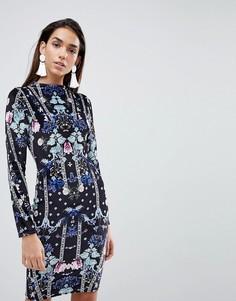 Облегающее платье с бархатным принтом Lipsy - Мульти