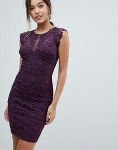 Облегающее платье с кружевными рукавами Lipsy - Фиолетовый