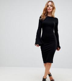 Облегающее платье миди с расклешенными рукавами ASOS PETITE - Черный