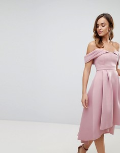 Платье миди для выпускного с открытыми плечами ASOS - Розовый