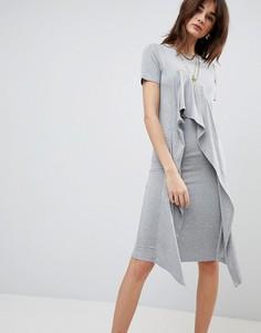 Платье-футболка миди с оборкой ASOS - Серый