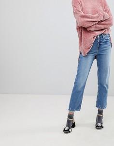 Прямые джинсы с рваной нижней кромкой River Island - Синий