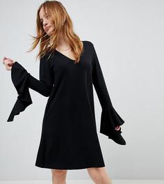 Платье мини с оборками ASOS PETITE - Черный