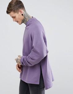 Длинный оверсайз-свитшот с разрезами по бокам и асимметричным краем ASOS - Фиолетовый