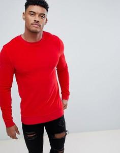 Красный велюровый обтягивающий свитшот ASOS - Красный