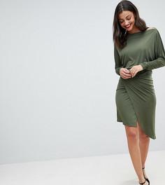 Облегающее платье с открытыми плечами и запахом John Zack Tall - Зеленый