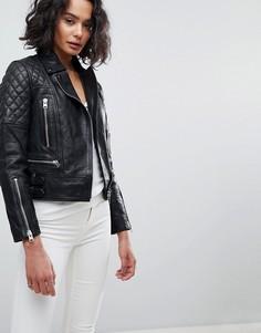 Кожаная куртка со стеганой отделкой AllSaints - Черный