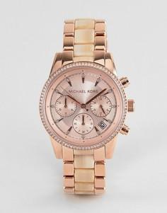 Наручные часы-хронограф цвета розового золота Michael Kors MK6493 Ritz - Золотой