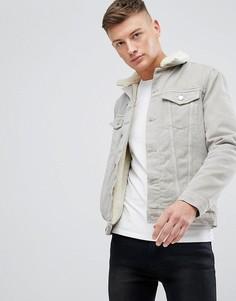 Джинсовая куртка с подкладкой из искусственного меха New Look - Светло-бежевый