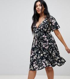 Платье миди с запахом и цветочным принтом Missguided Plus - Черный