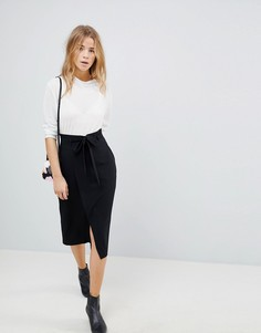 Юбка-карандаш с поясом оби ASOS Tailored - Черный
