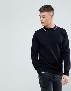 Черный лонгслив-поло с контрастным воротником New Look - Черный