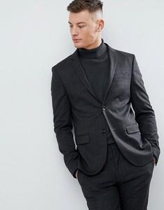 Темно-серый супероблегающий пиджак в клетку River Island - Серый