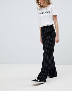 Брюки с широкими штанинами в тонкую полоску New Look - Черный
