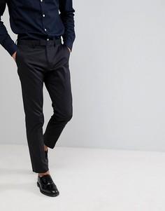 Черные сатиновые облегающие строгие брюки Burton Menswear - Черный