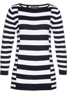 Пуловер (белый/темно-синий) Bonprix