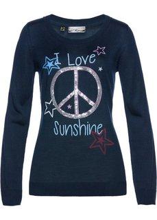 Пуловер с пайетками (темно-синий/разные цвета с рисунком) Bonprix