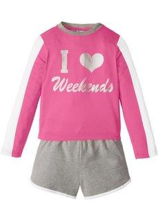 Пижама с шортами (2 изд.) (ярко-розовый фламинго/светло-серый меланж) Bonprix