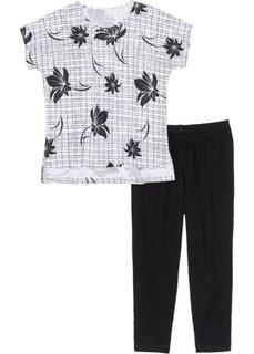 Пижама-капри с легинсами (черный/белый с рисунком) Bonprix